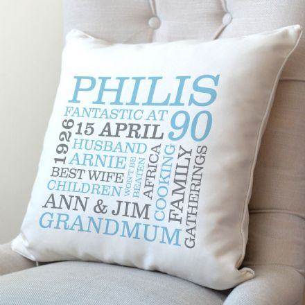 Personalised 90th Birthday Word Art Cushion
